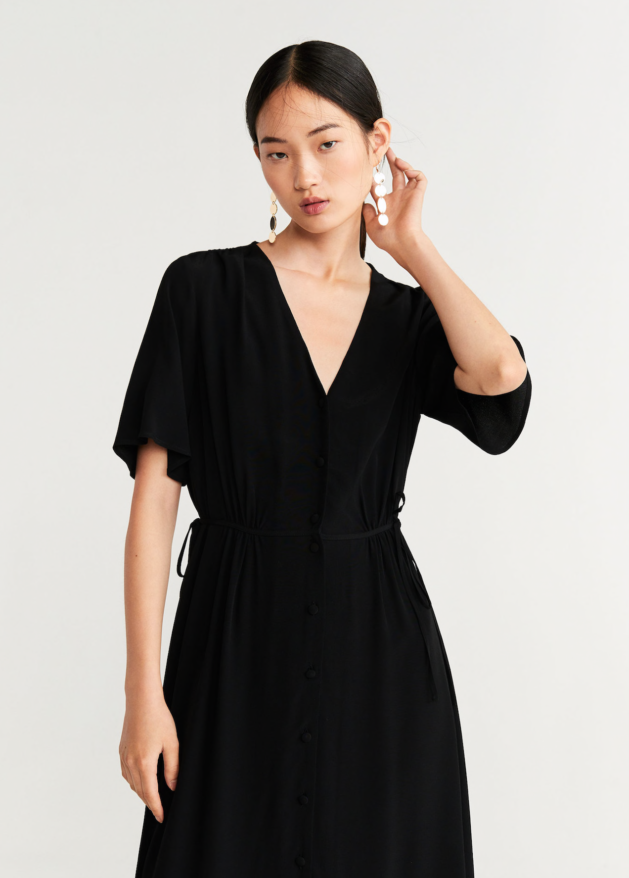 Bow Midi Dress with Flutter Sleeves