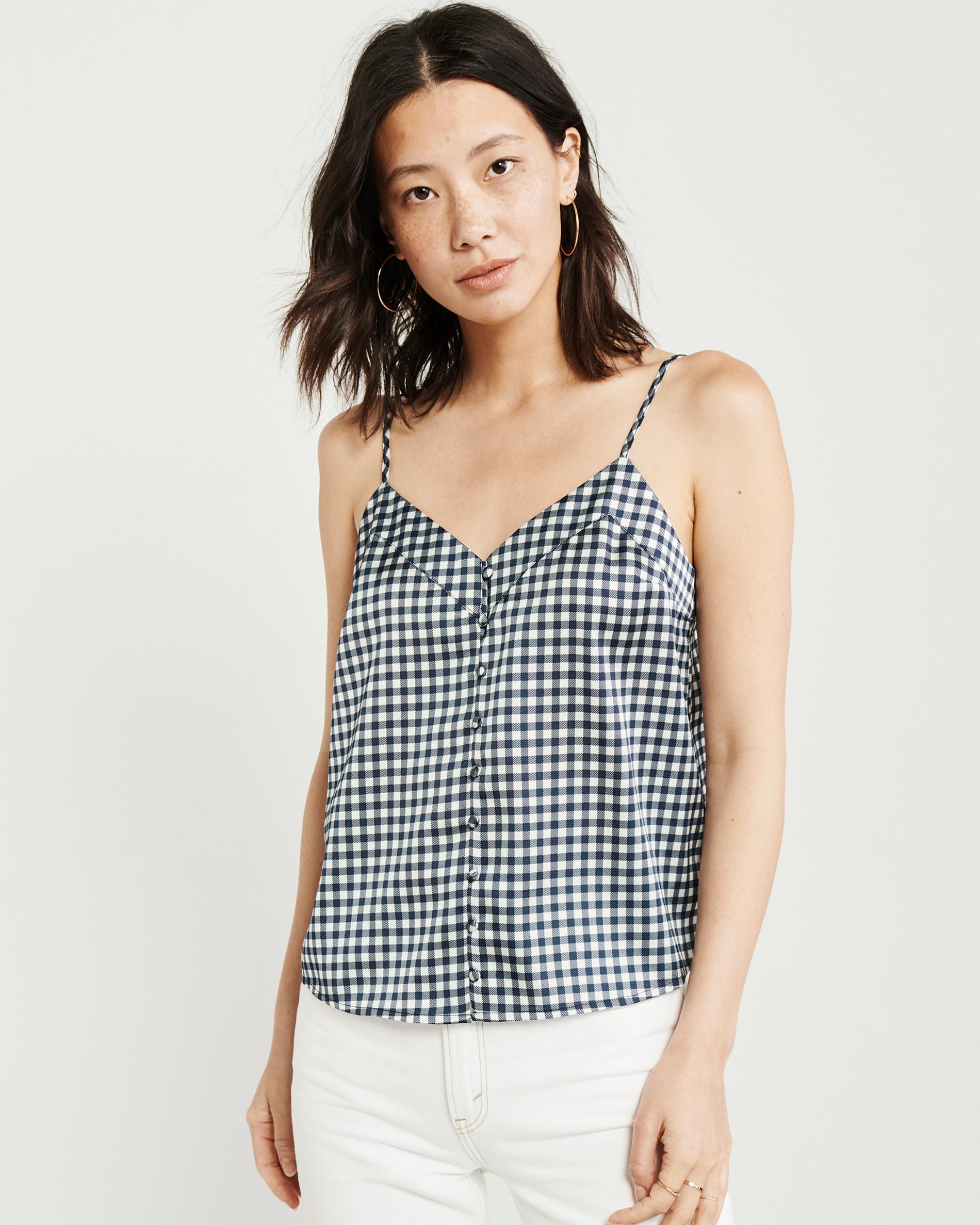 Gingham Satin Cami