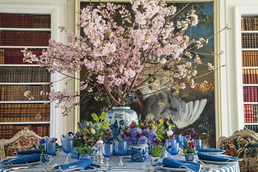 Design & Style: A Constant Thread by Carolyne Roehm Book Blue and White Table Setting Cherry Blossoms Ginger Jar