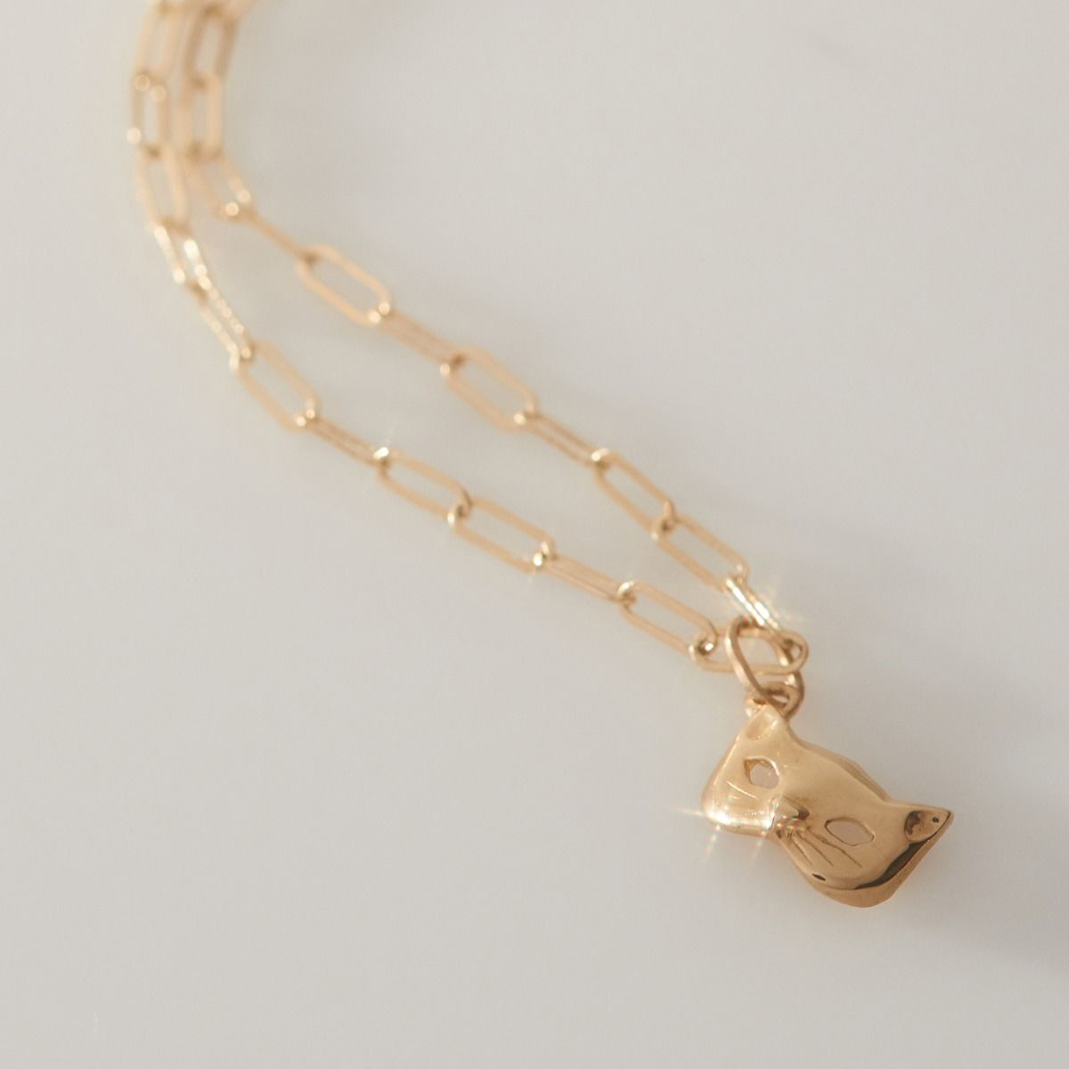 14K Yellow Gold Kitten Cat Mask Charm Bracelet Catbird Brooklyn