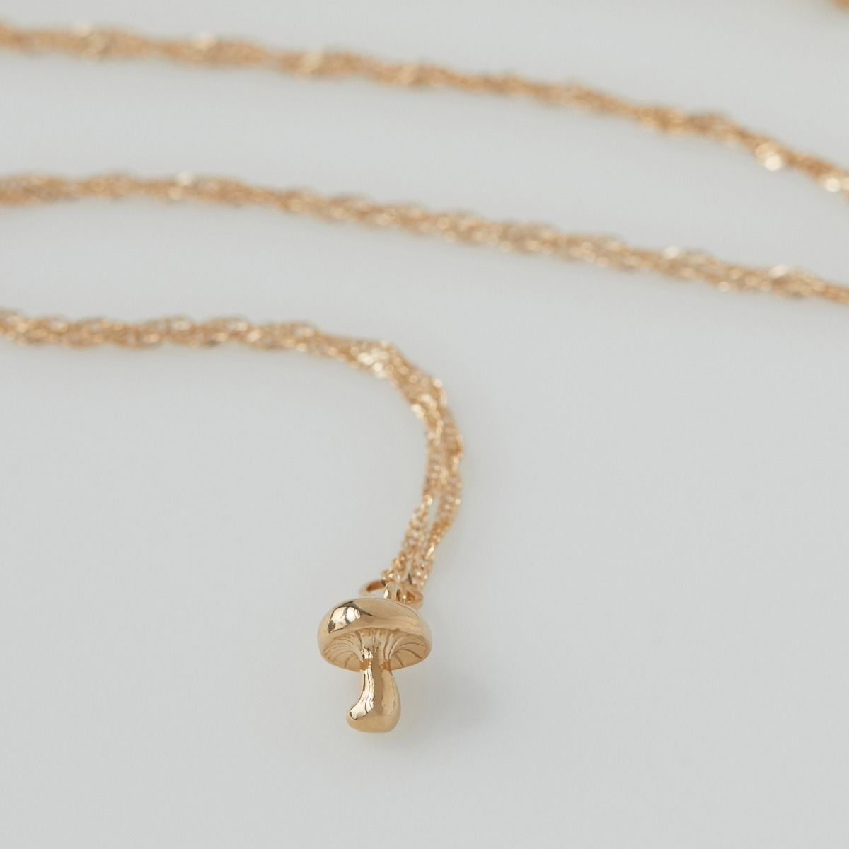 14K Yellow Gold Mushroom Charm Bracelet Necklace Catbird Brooklyn