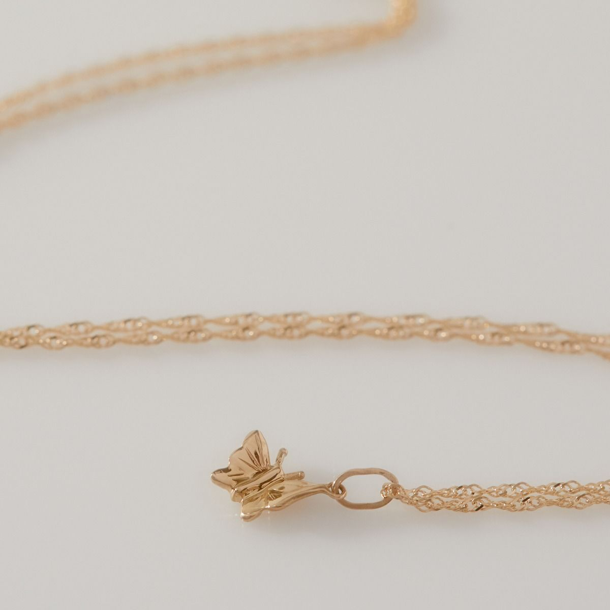 14K Yellow Gold Butterfly Charm Bracelet Necklace Catbird Brooklyn