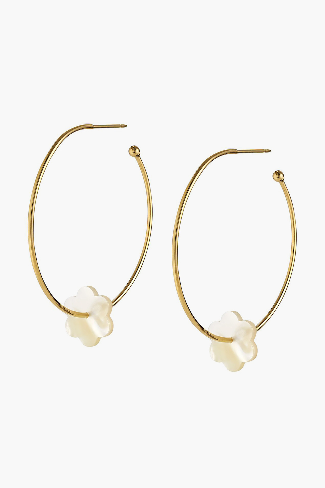 Gold Hoops with Pearl Flower Charm