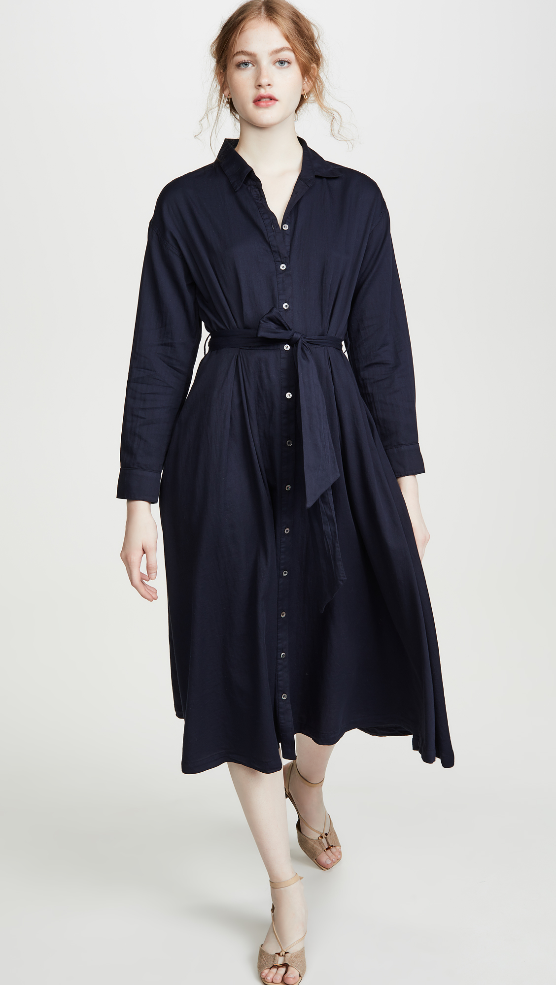 Navy Blue Button Front Midi Shirtdress