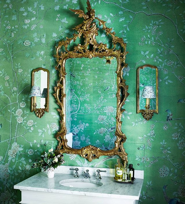 De Gournay green chinoiserie wallcovering powder room gilt mirror
