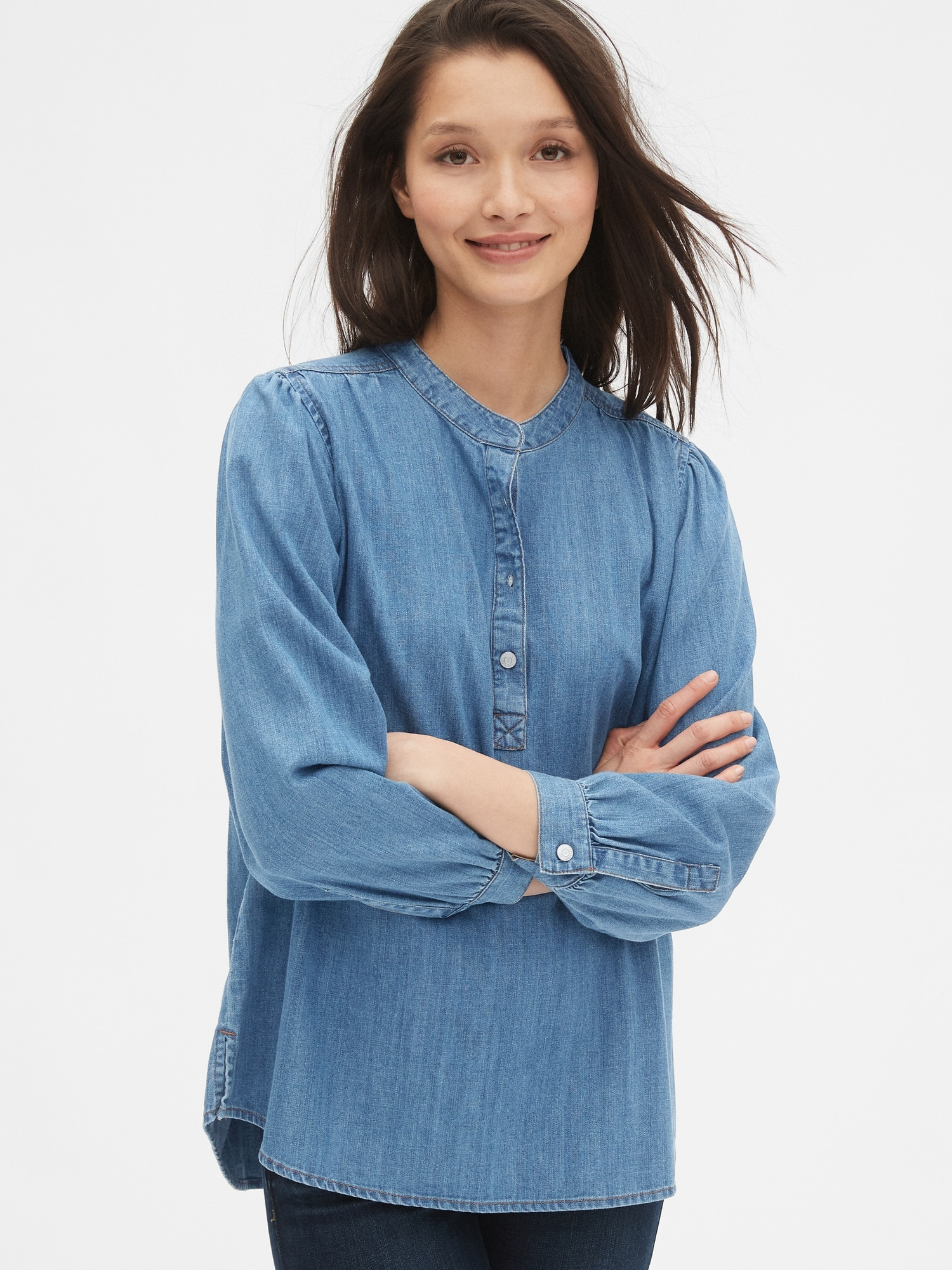 Denim Shirred Popover Shirt