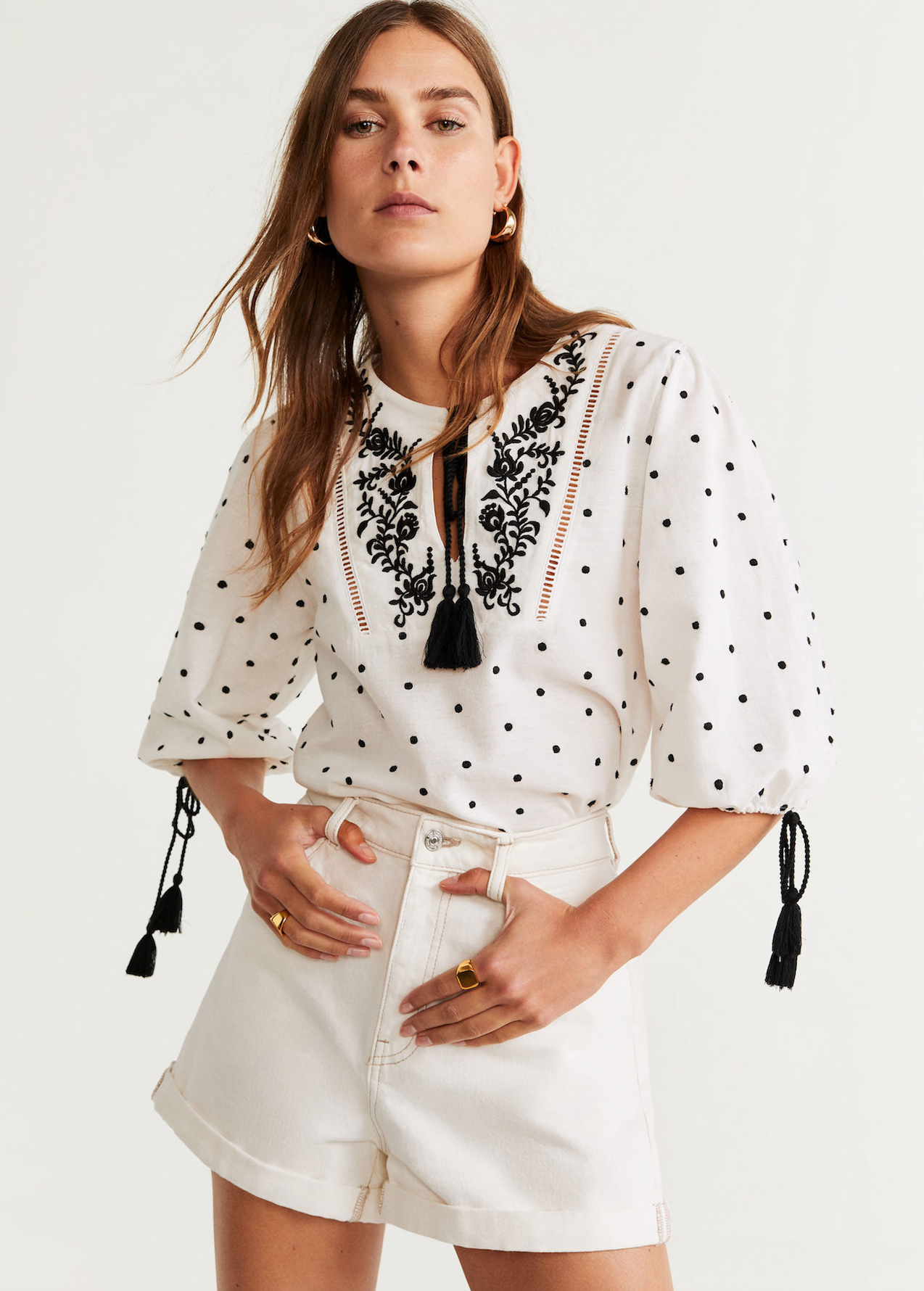 Embroidered Polka Dot Blouse