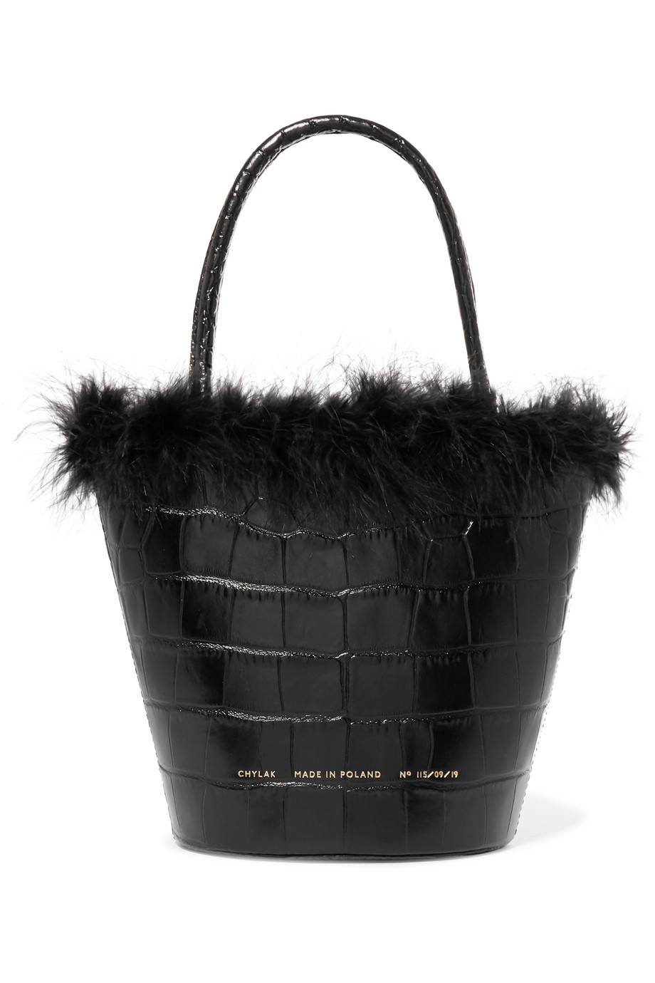 Feather Trimmed Croc Effect Tote