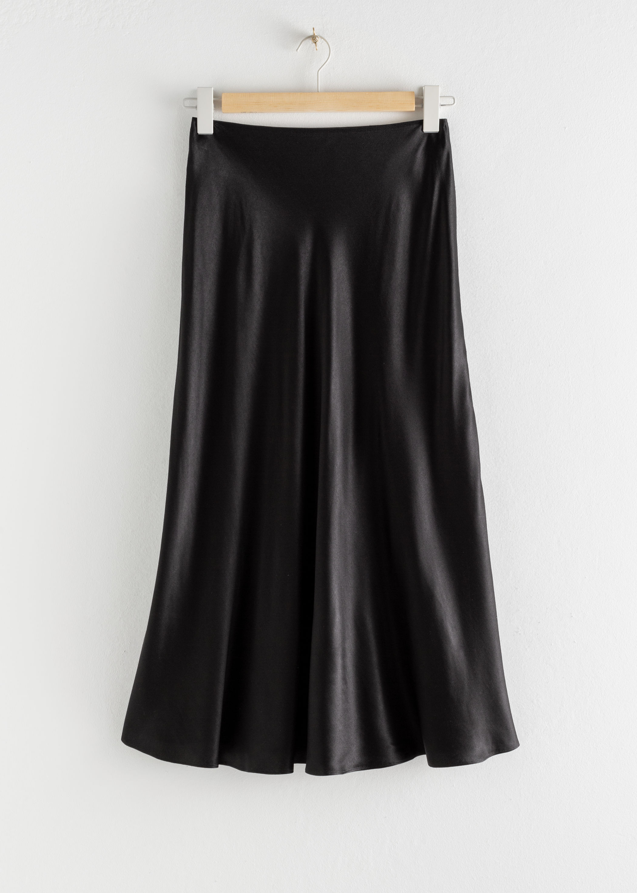 Flowy Satin Midi Skirt