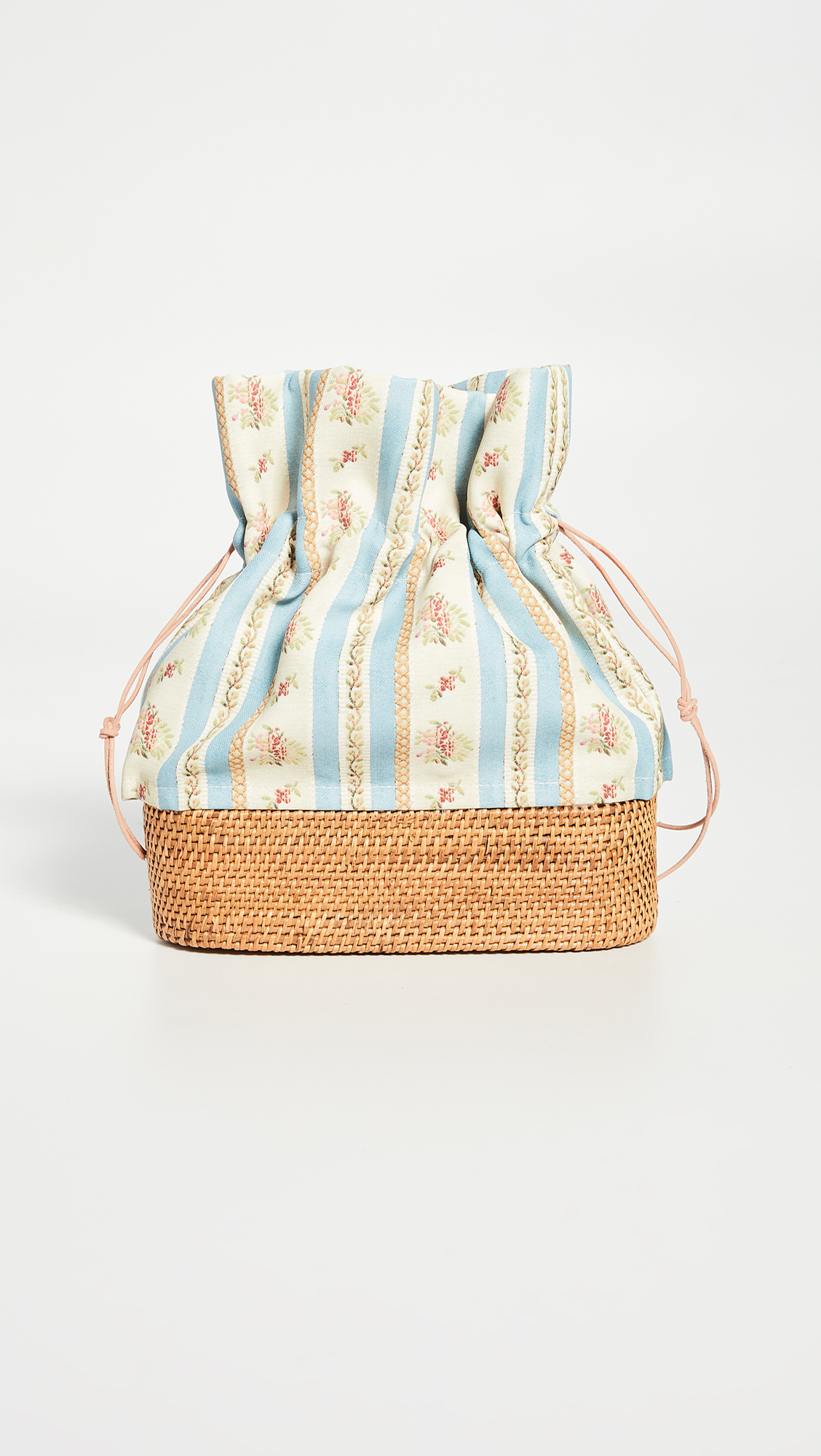Floral Canvas and Woven Rattan Bag