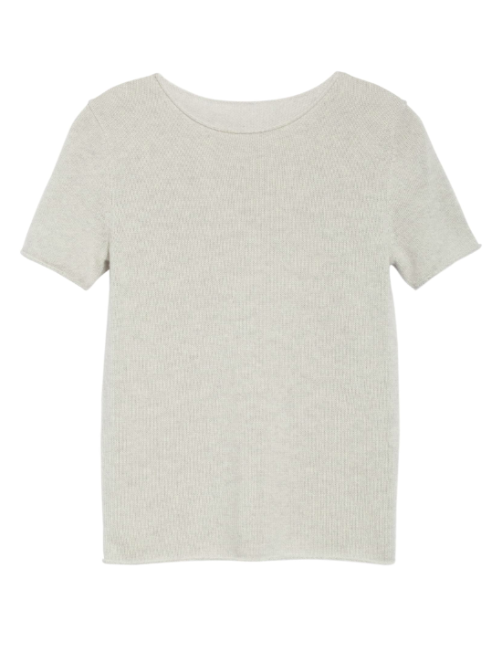 Grey Short Sleeve Cashmere Pullover