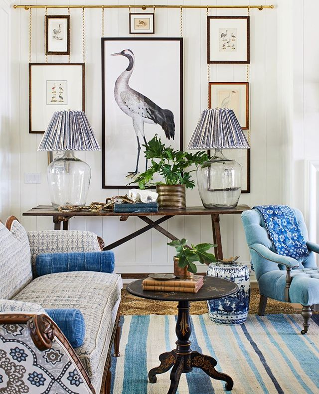 Blue and White Living room by Heather Chadduck Interiors Southern Living Idea House 2019