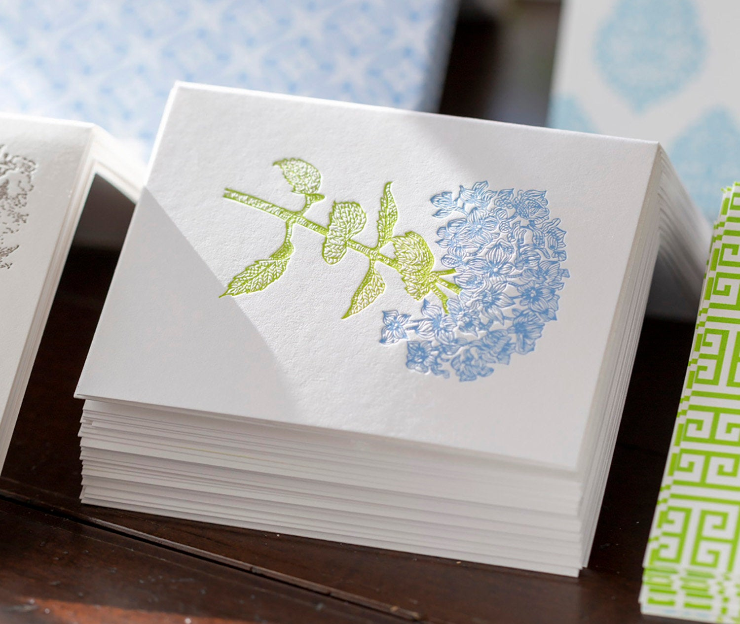 Letterpress Hydrangea Notes