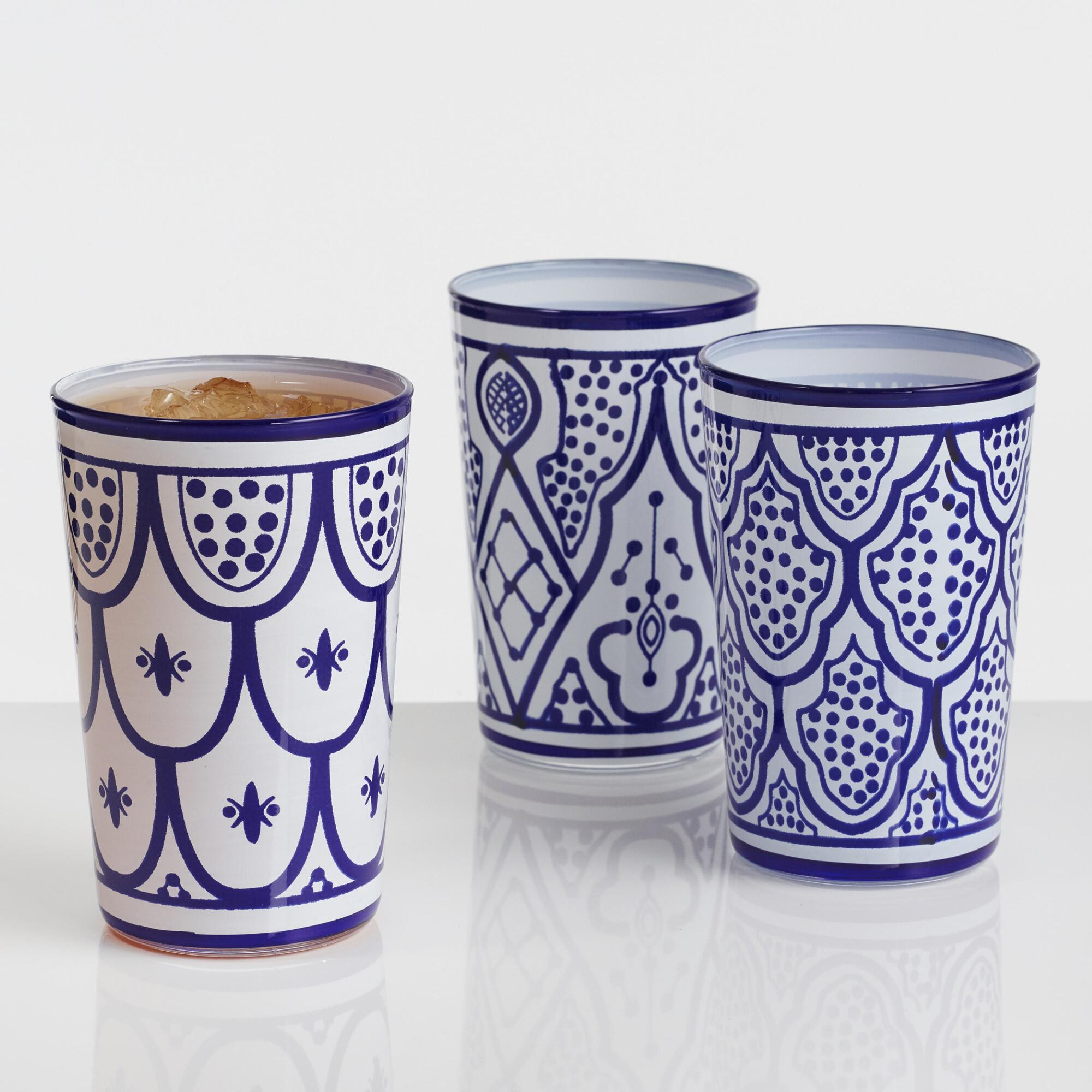 Blue and White Moroccan Glasses