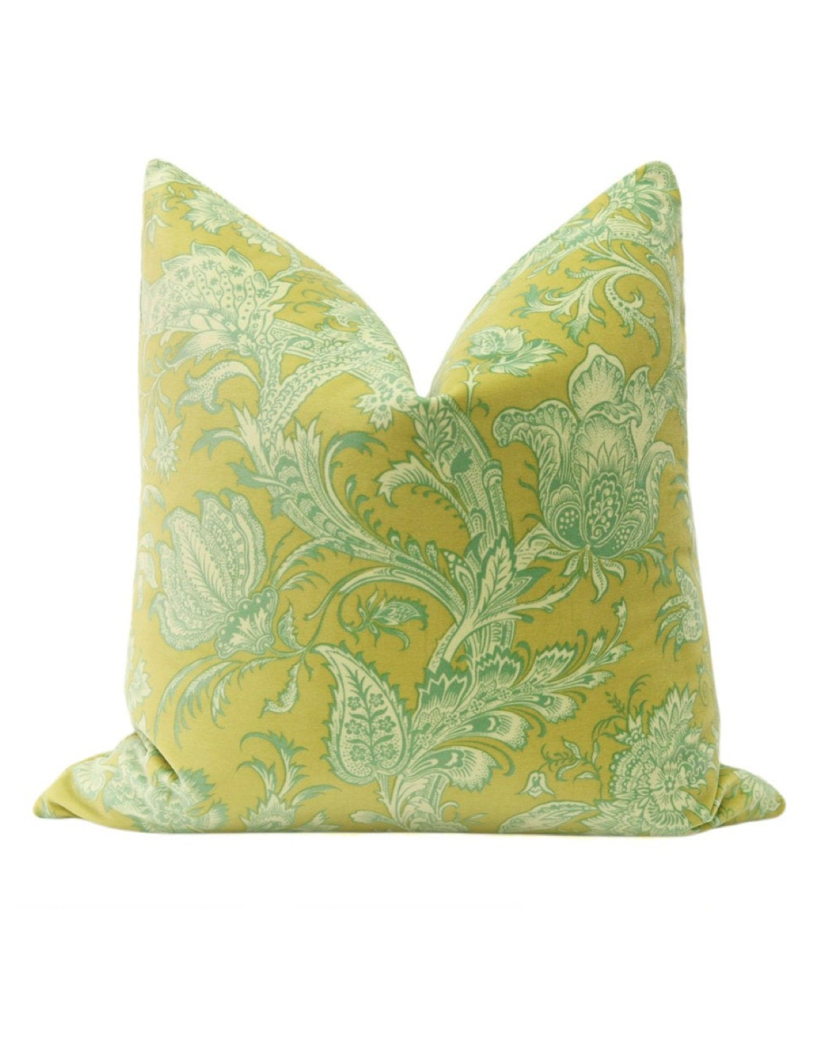 Chartreuse Floral Pillow Cover