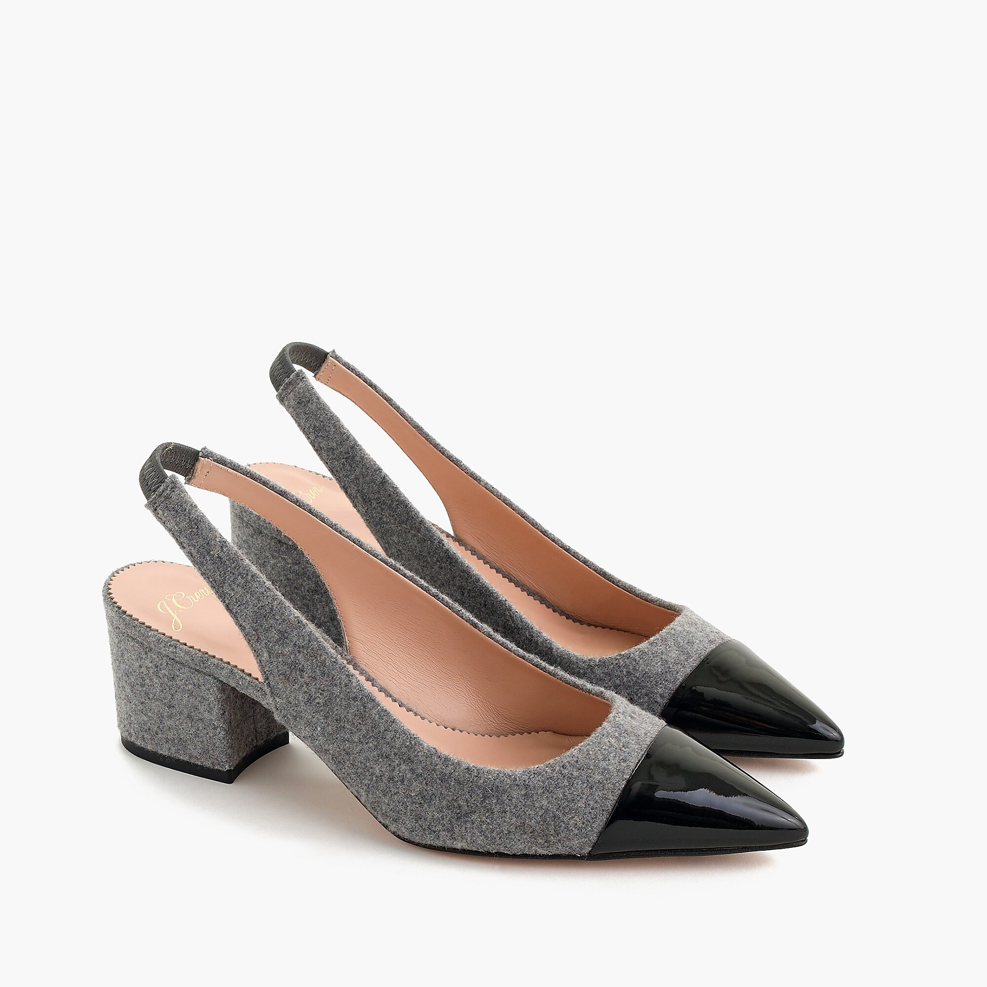 Wool and Leather Slingback Pumps