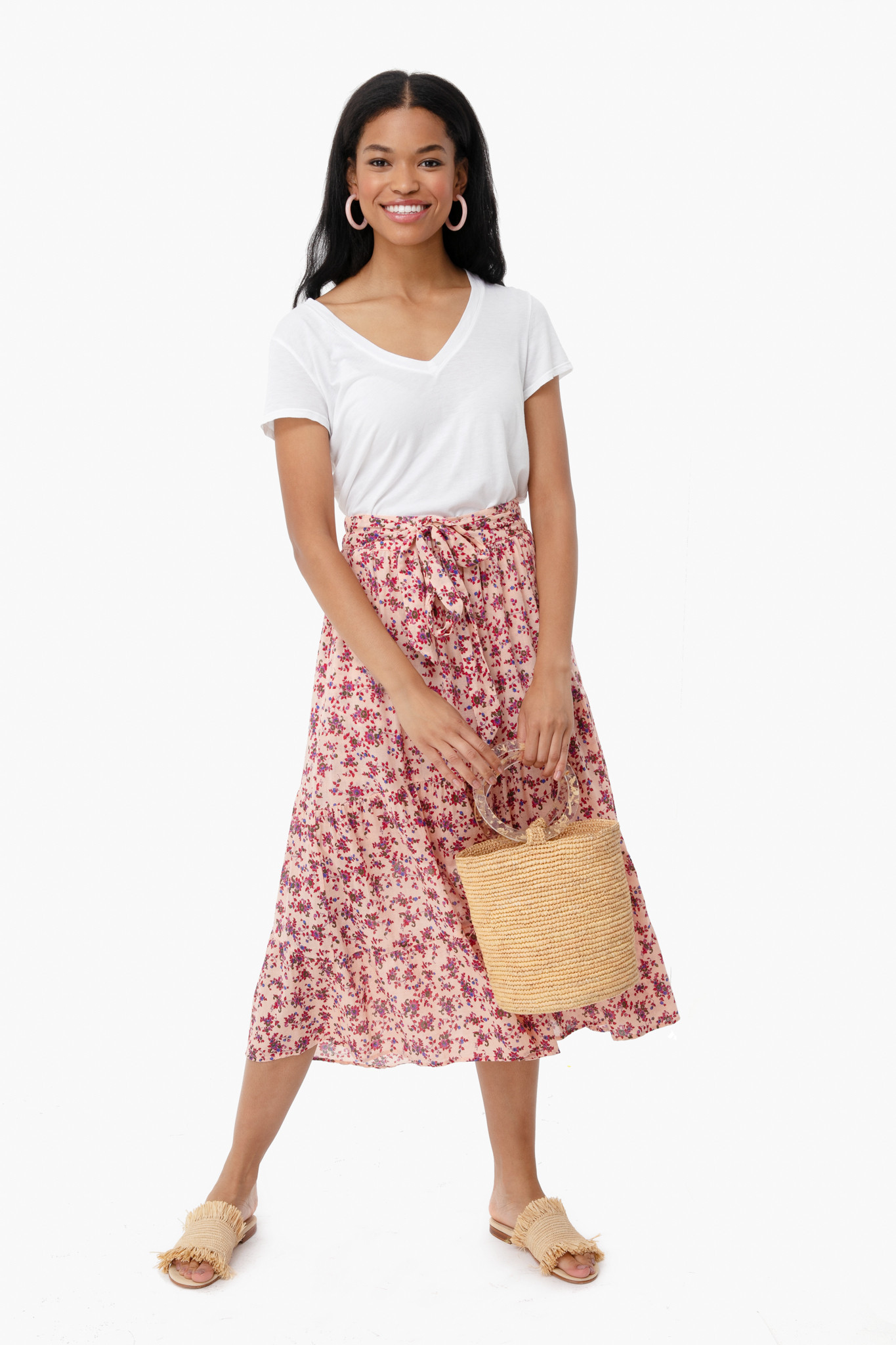 Floral Tie at Waist Skirt