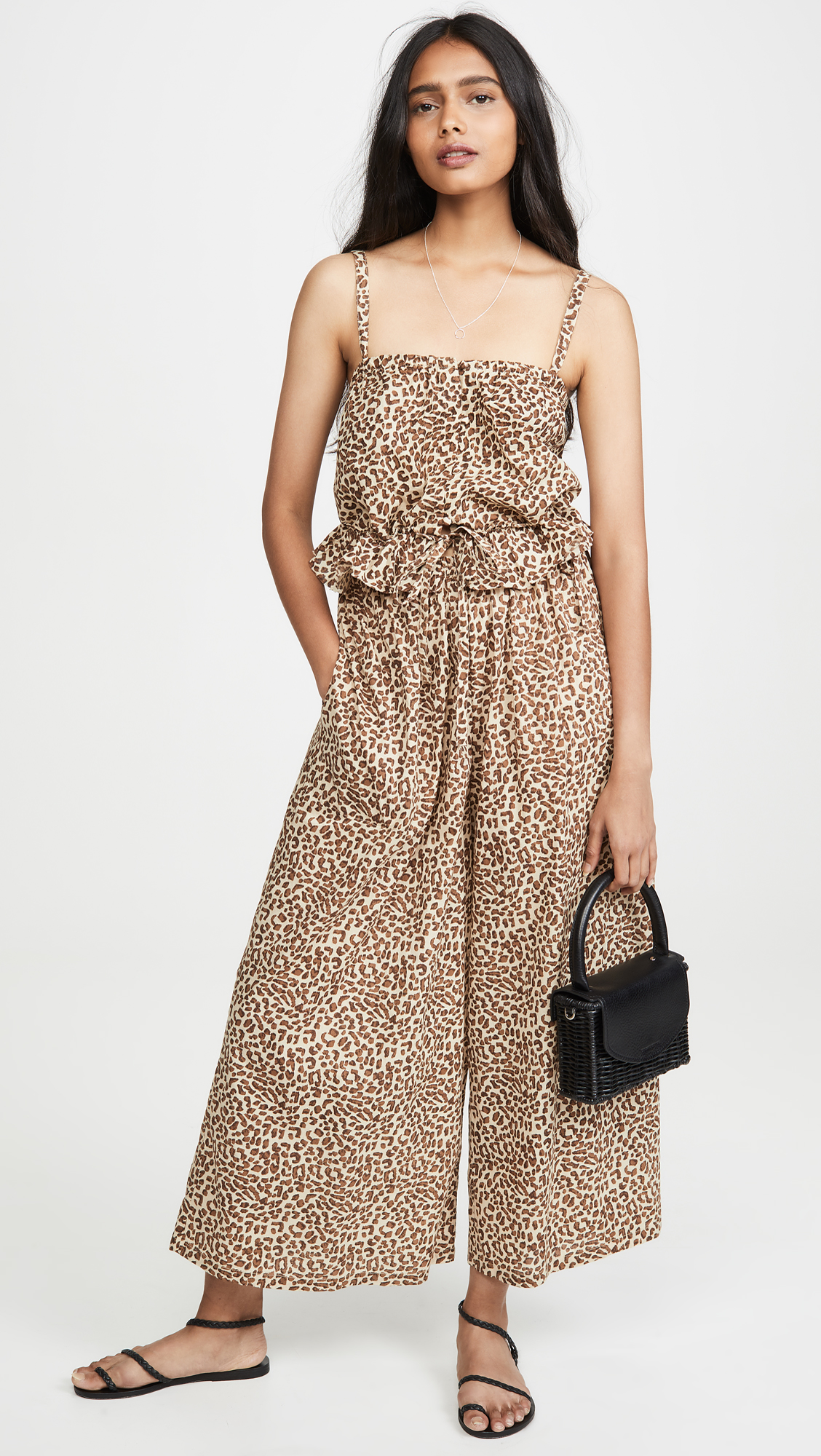 Leopard Print Peplum Top and Leopard Print Wide Leg Pants