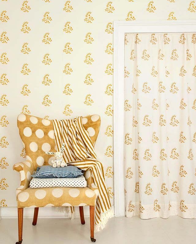 Block Print Floral Wallpaper Yellow Les Indiennes