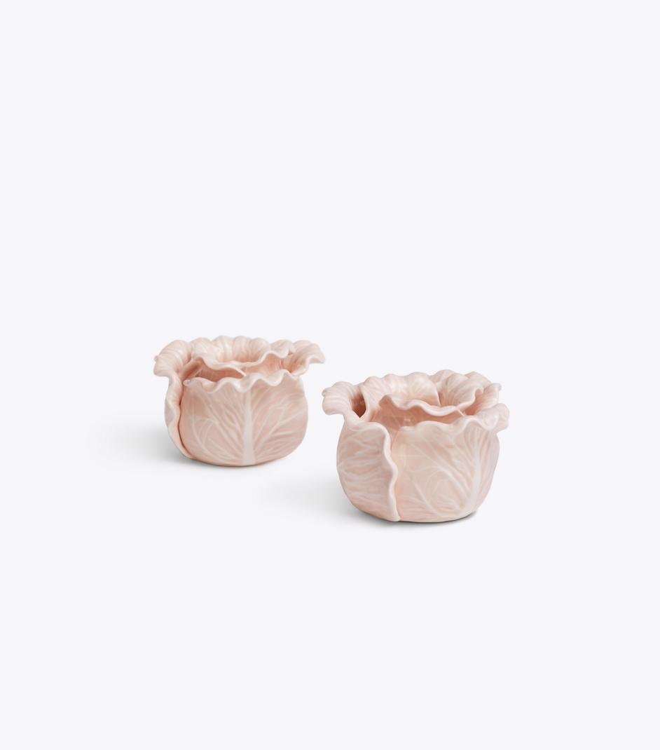 Pale Pink Lettuce Candle Holders