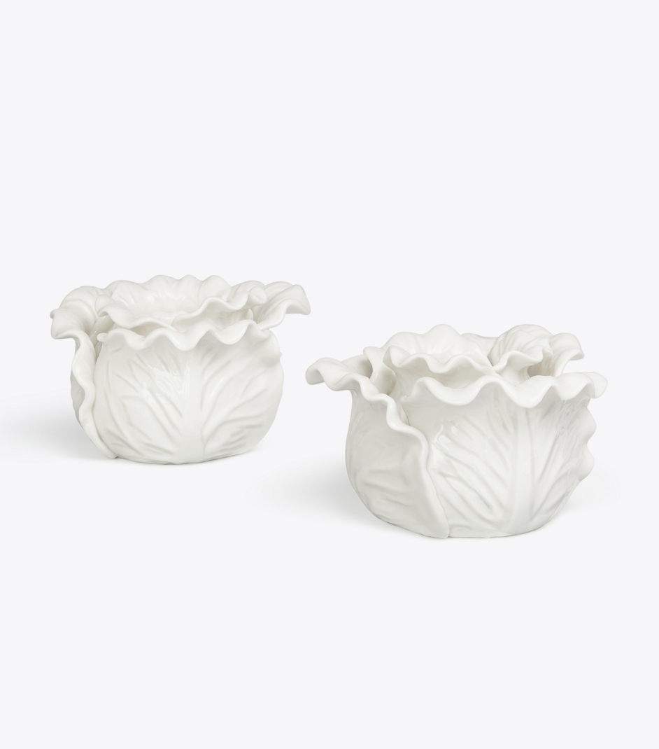 White Lettuce Candle Holders