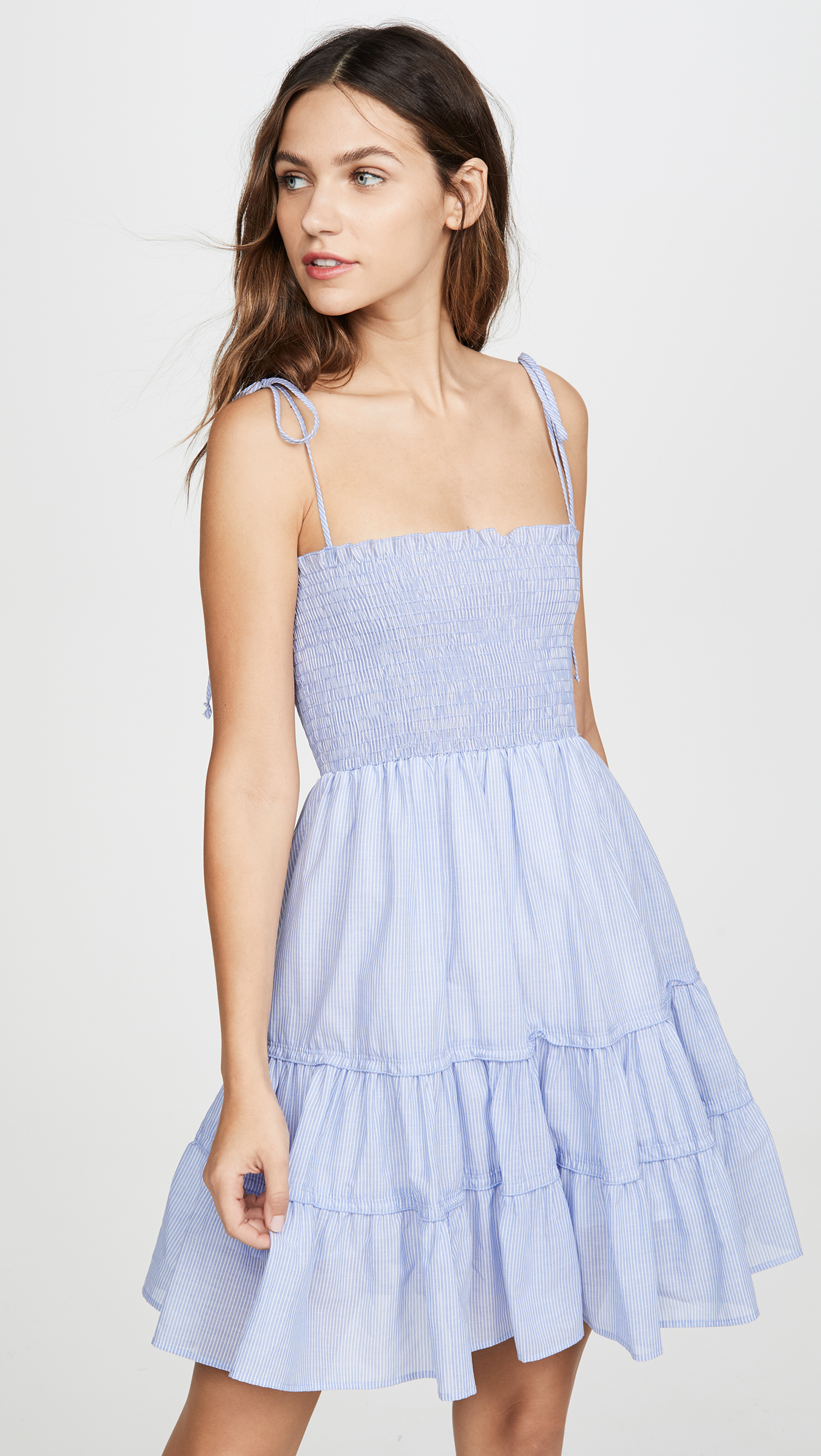 Blue Smocked Bodice Dress