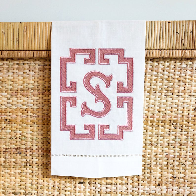 Greek Key Monogrammed Towel