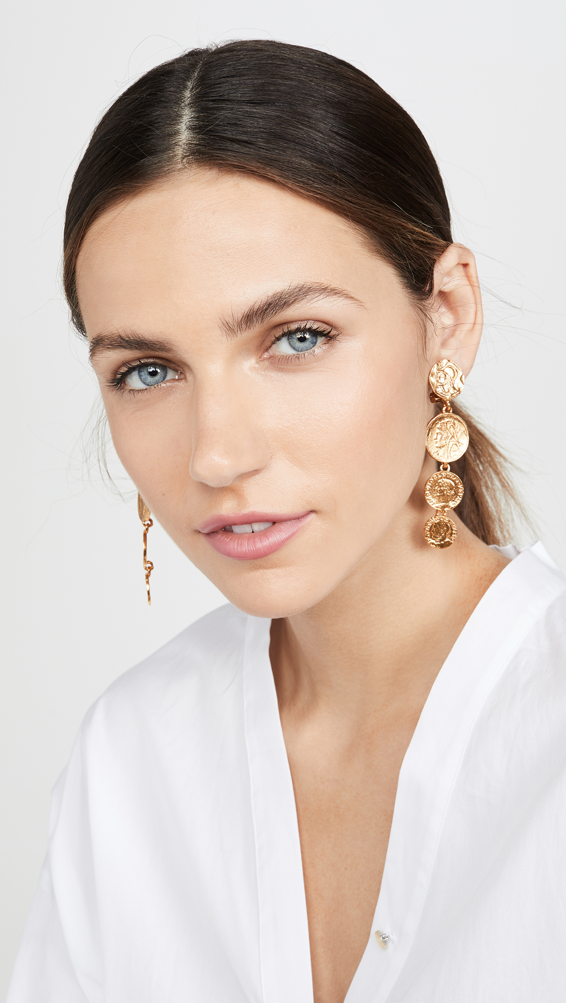 Linked Coin Drop Earrings
