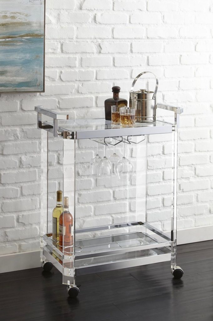 Lucite Acrylic Bar Cart Aerin Chrome Silver Wheels Server