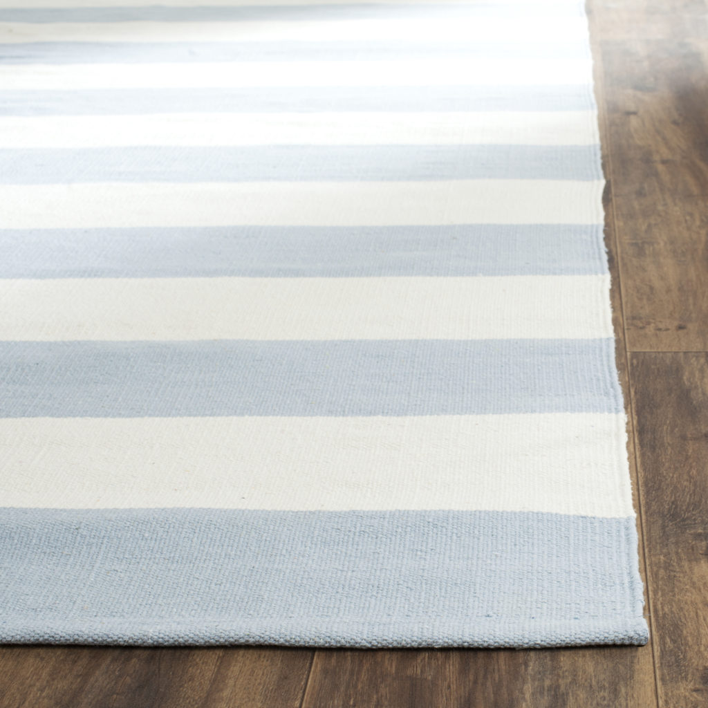 Striped Flatweave Rug Montauk Blue and White