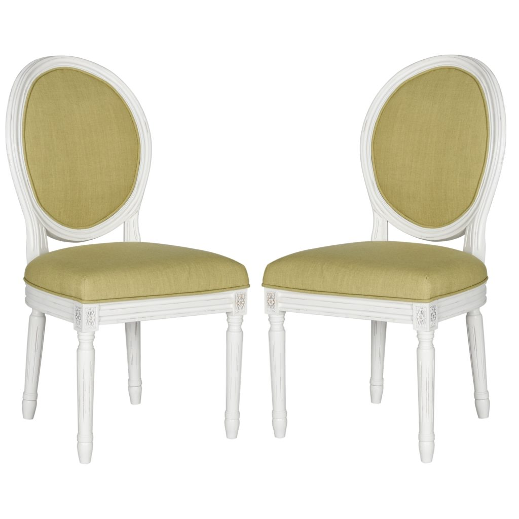 Oval Louis Side Chairs Green White
