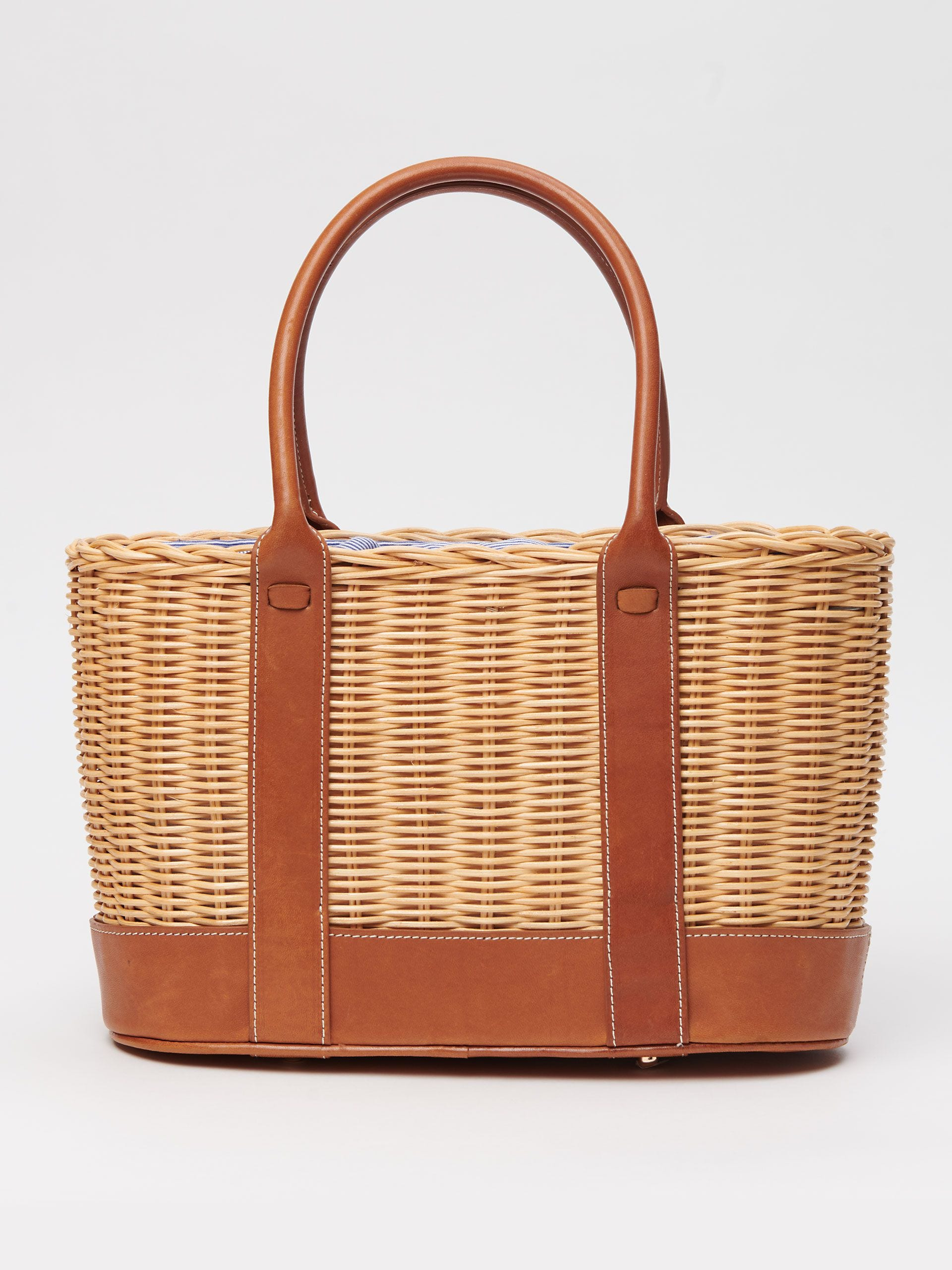 Wicker Bag with Leather Trim