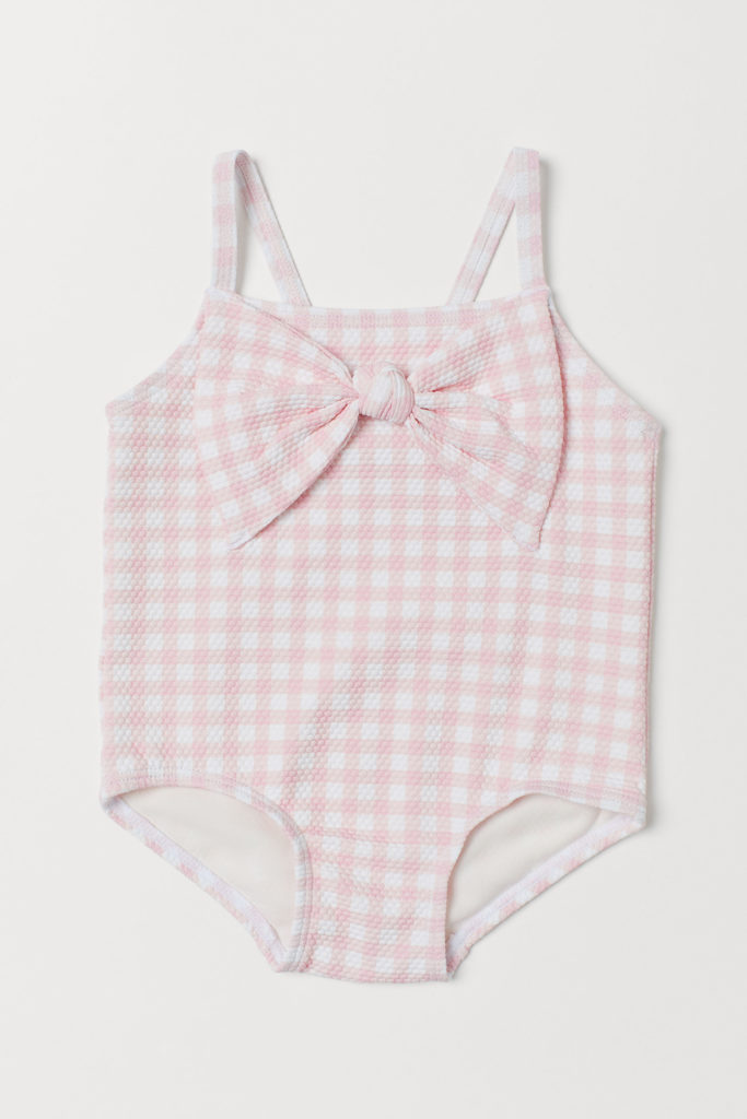 Pink Bow Check Swimsuit Baby Girl