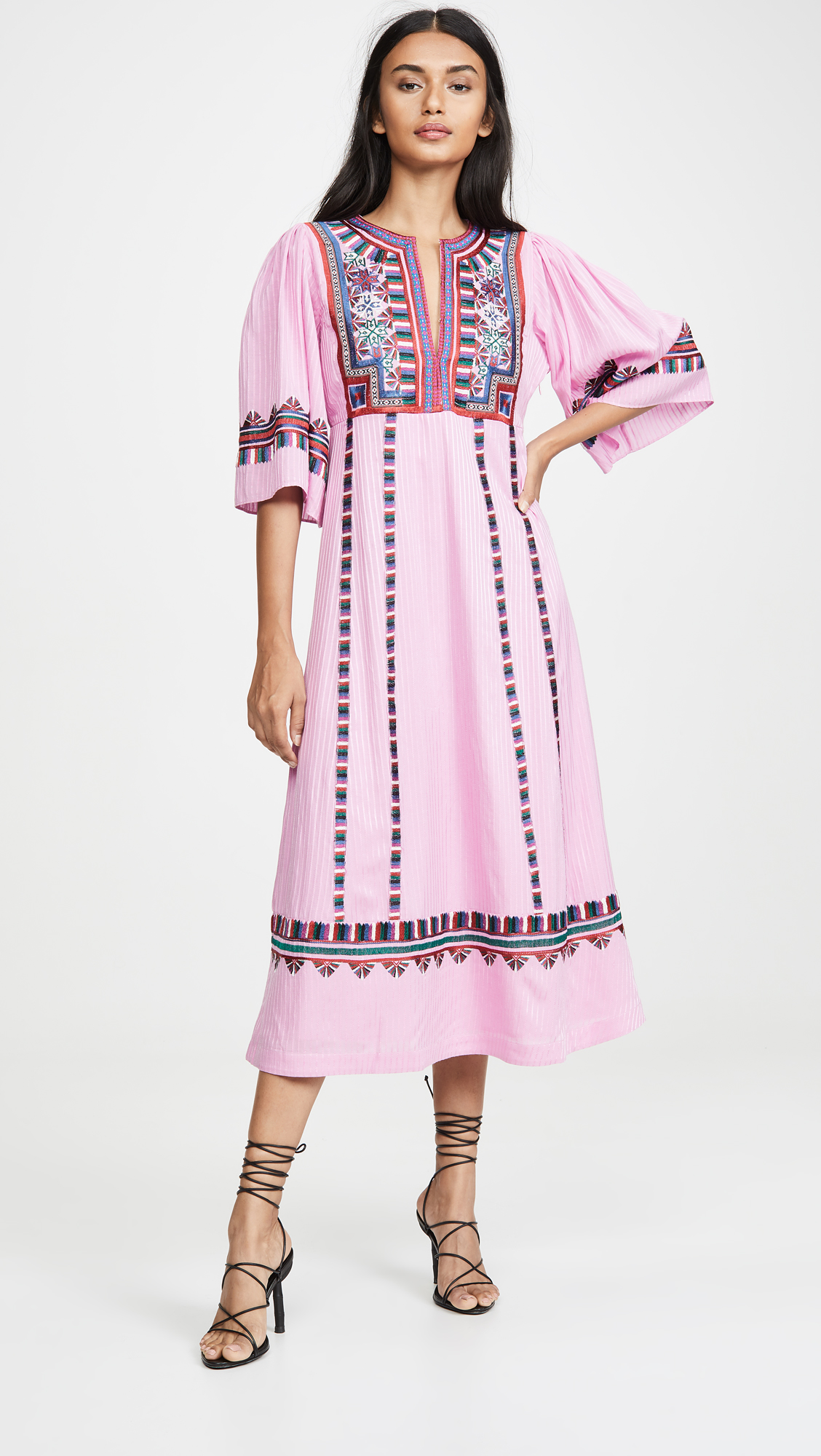 Striped Pink Embroidered Midi Dress
