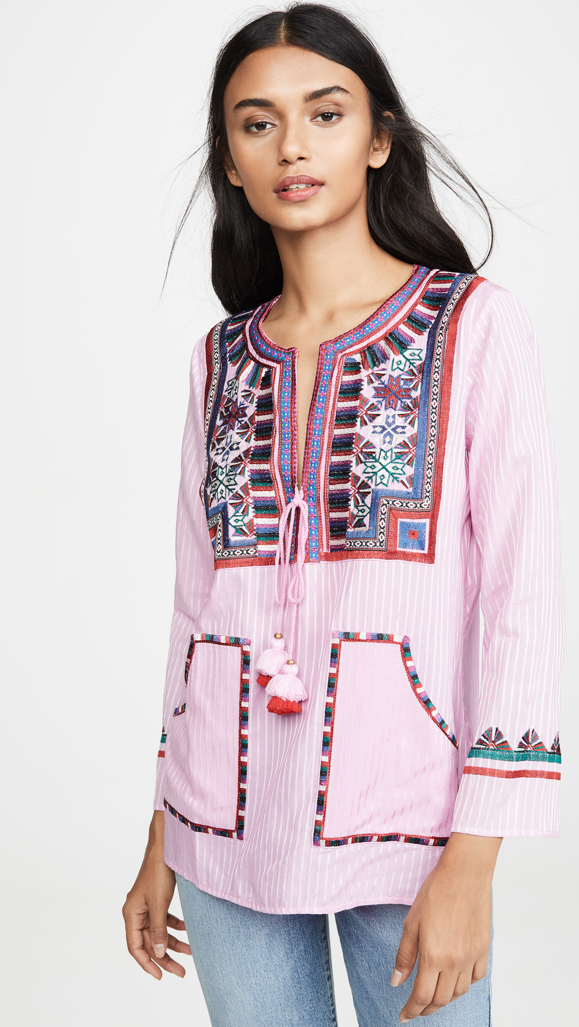 Pink Striped Embroidered Top