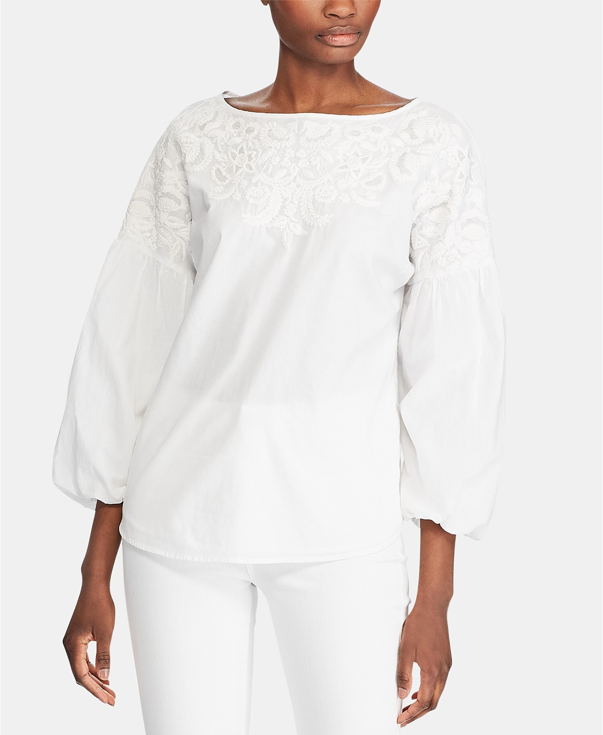 Puff Sleeve Embroidered Top