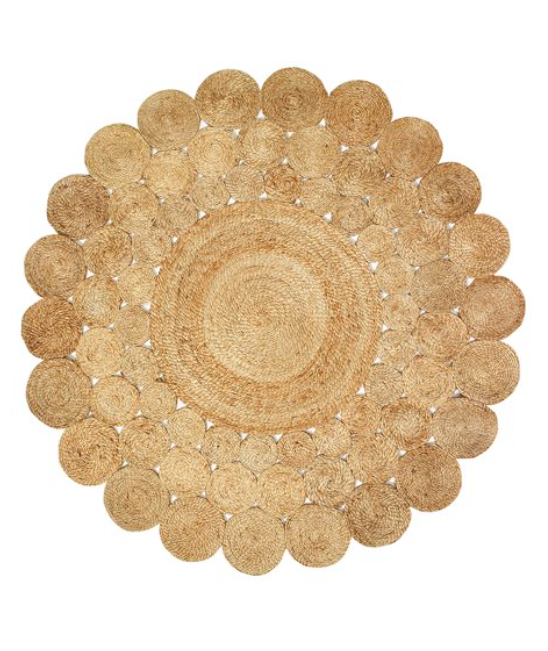 Round Jute Area Rug Braided Floral