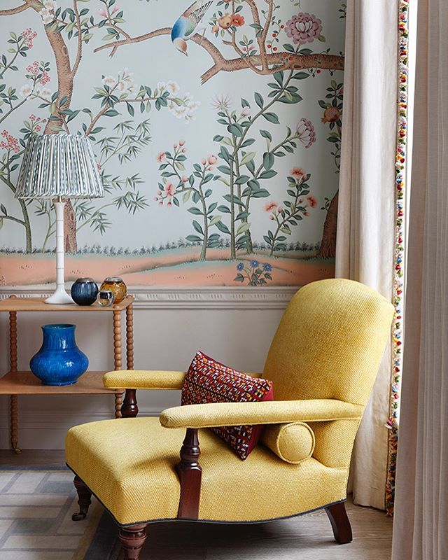 De Gournay Wallpaper Yellow Linen Armchair