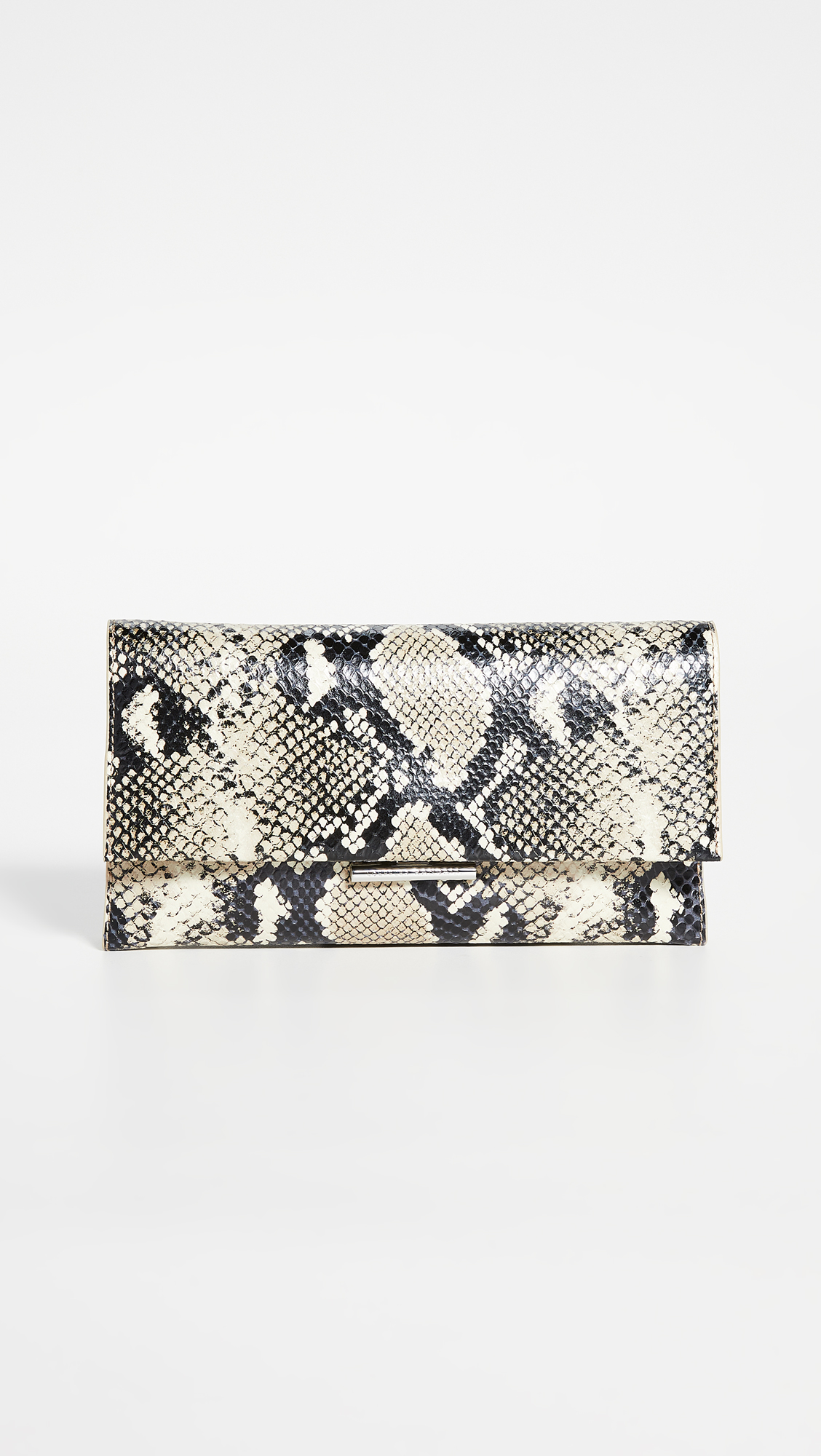 Snake Embossed Leather Clutch