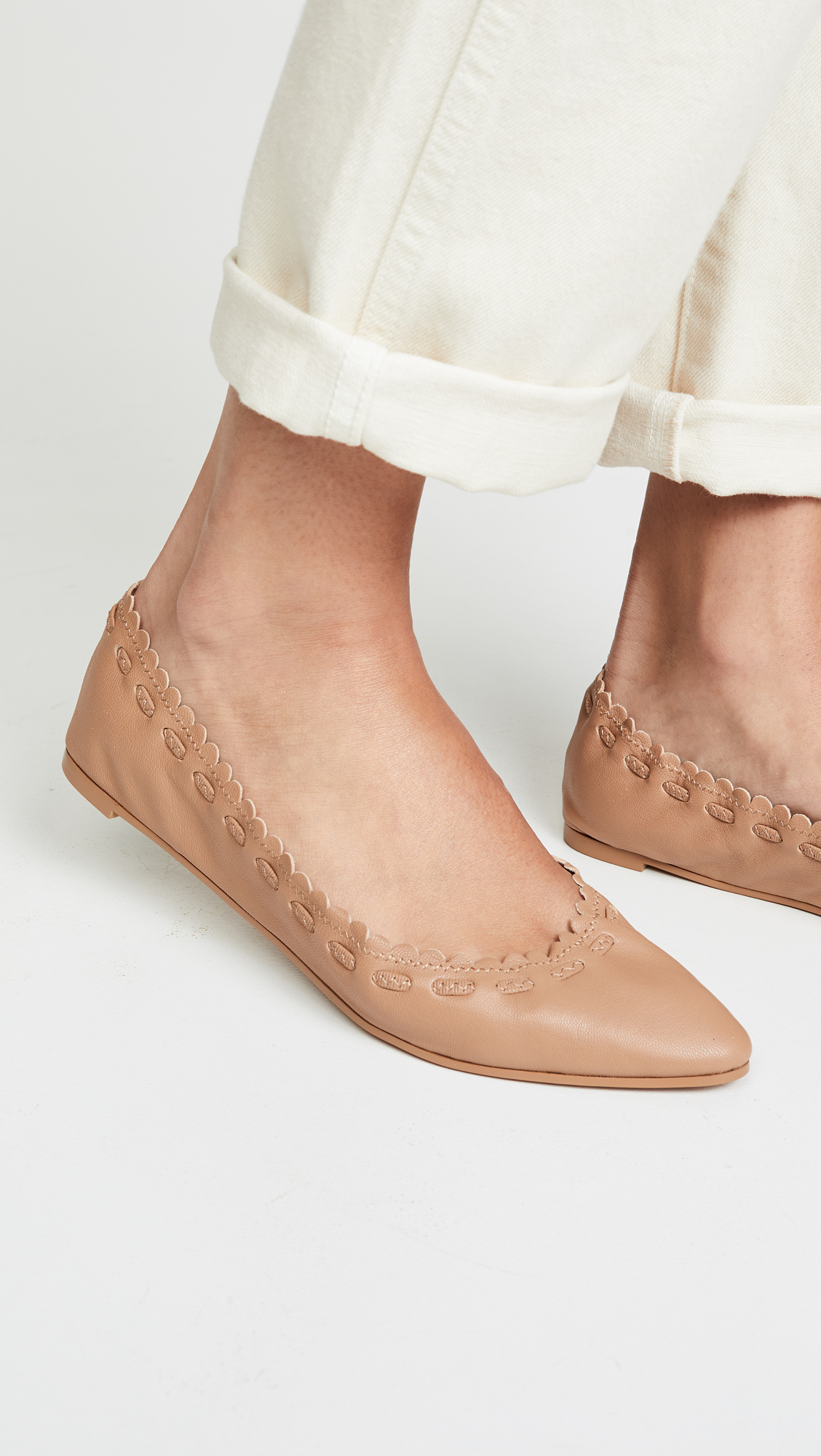 Nude Leather Ballet Flats