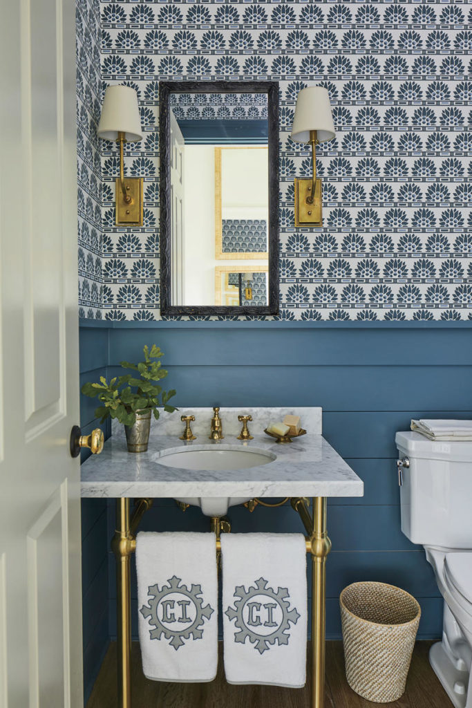 Blue Powder Room Wallpaper Heather Chadduck Interiors Southern Living Idea House 2019