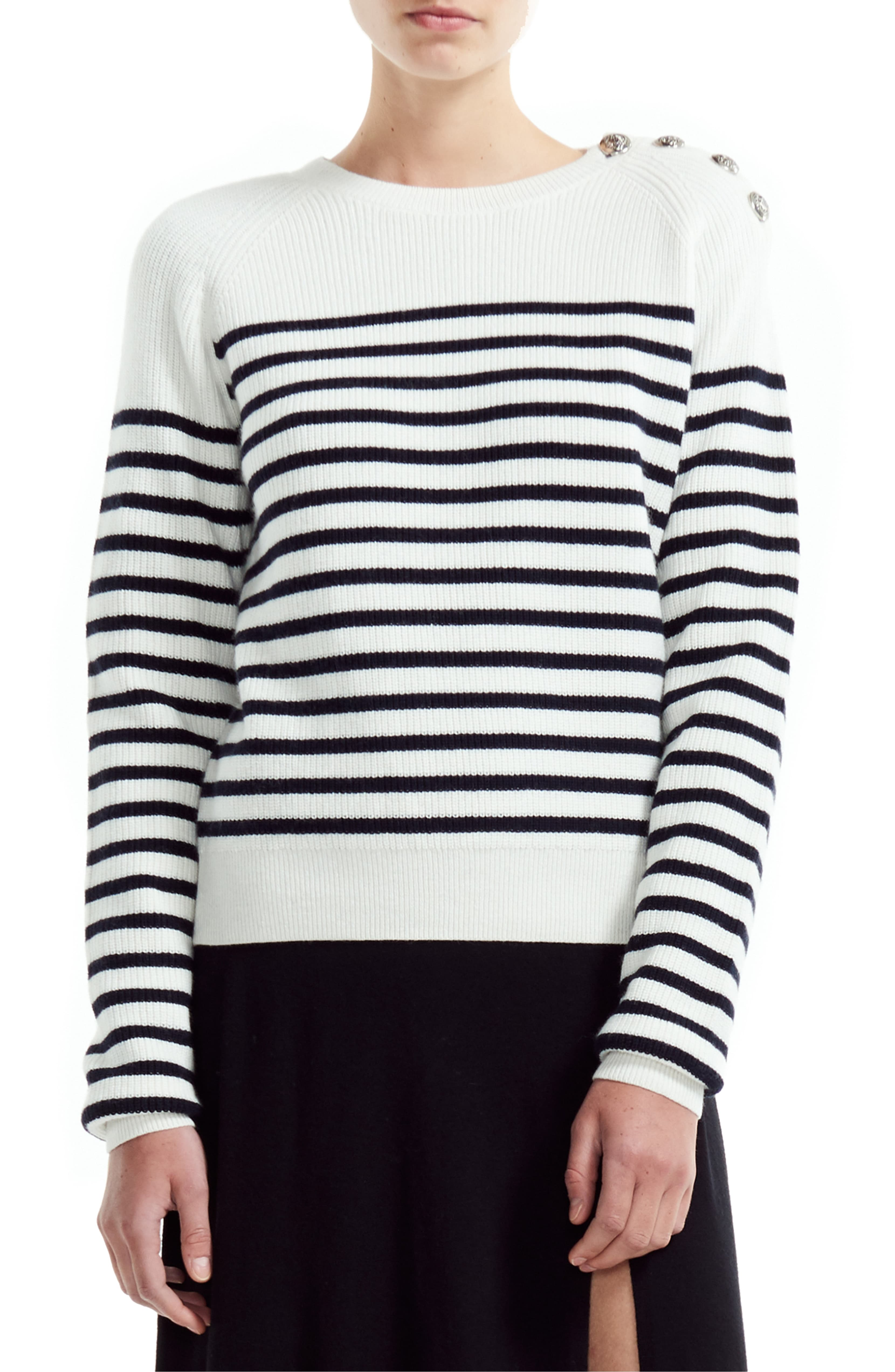 Striped Button Shoulder Sweater