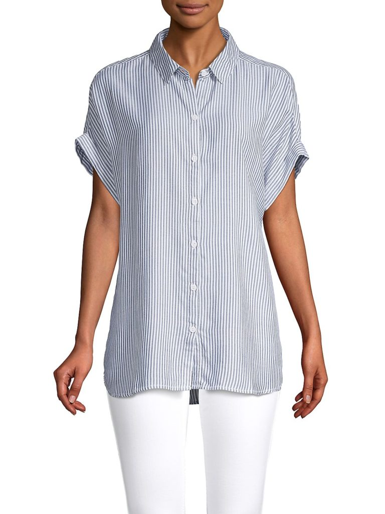 Stripe Blue and White Button-Up Short Sleeve Top