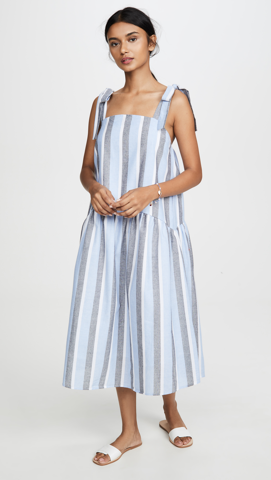 Stripe Pattern Midi Dress