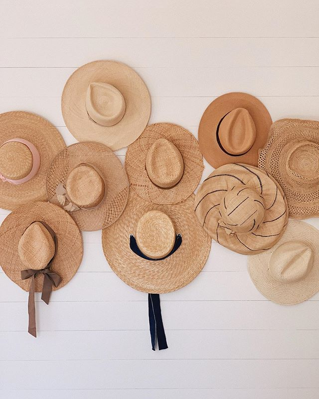 Straw Hats Hanging on Wall Julia Engel designed by Olivia Brock