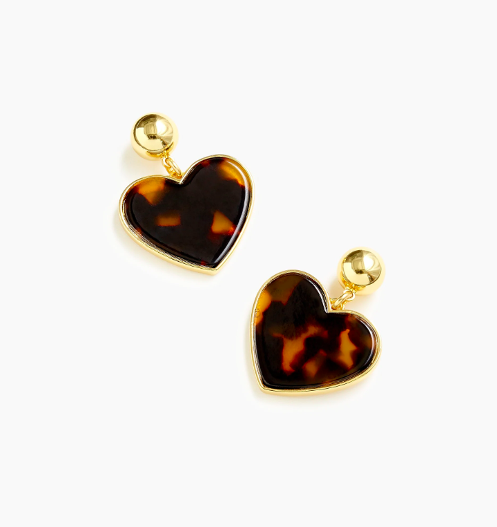 Tortoise Heart Drop Earrings