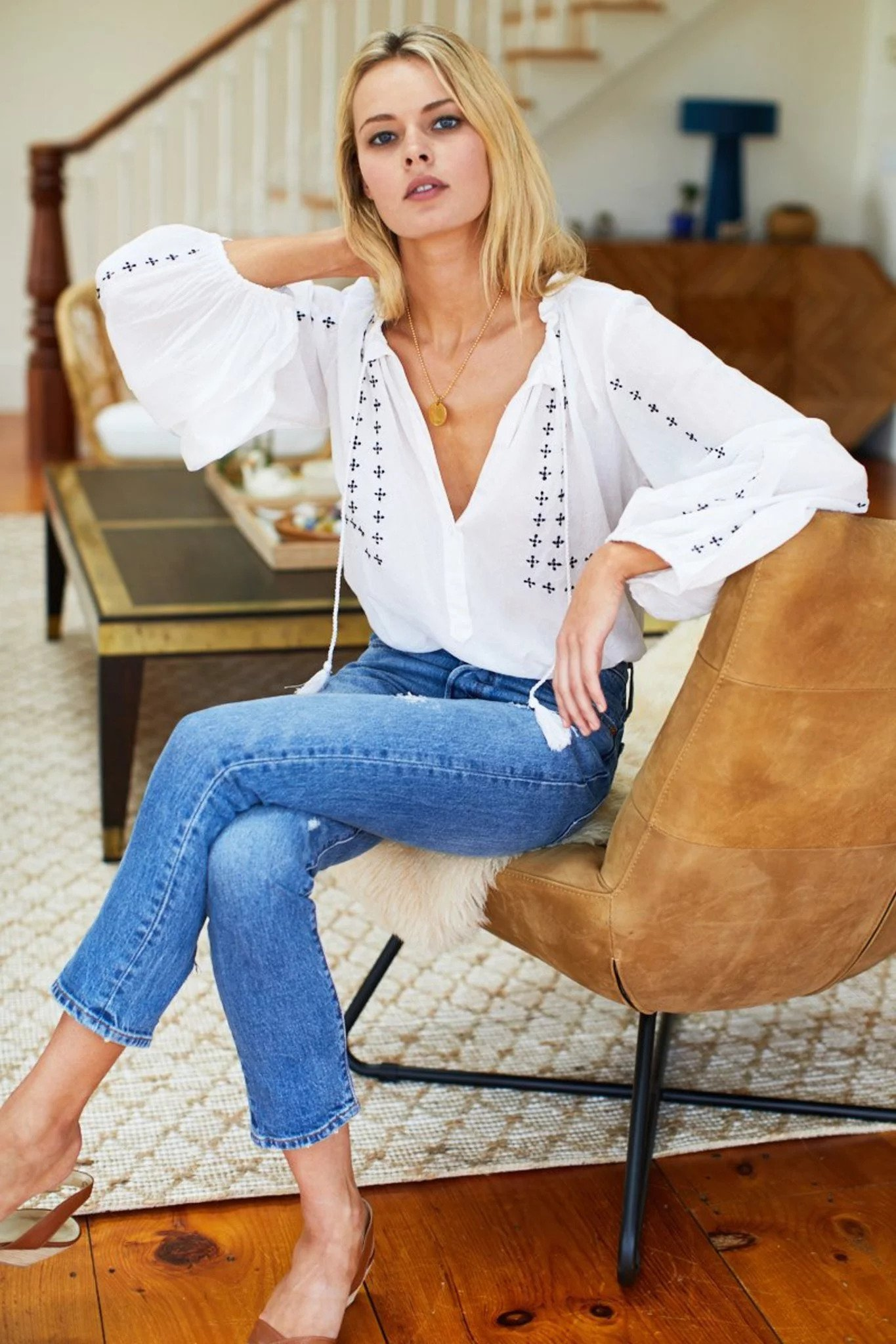 Embroidered Bardot Blouse