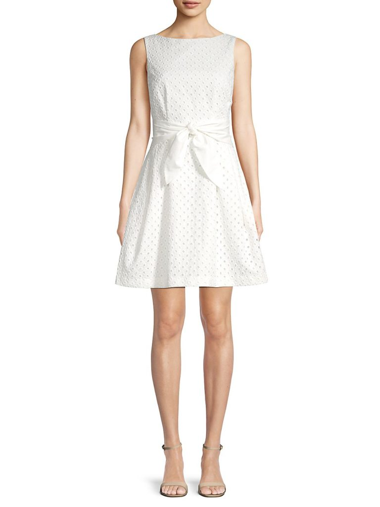 White Eyelet Fit and Flare Dress Bow