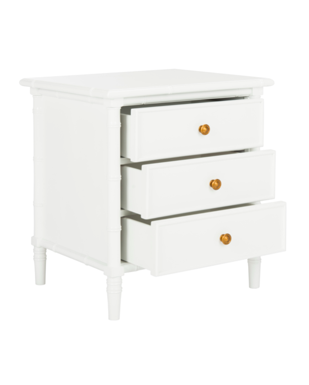 White Faux Bamboo Nightstand with Three Drawers End Table