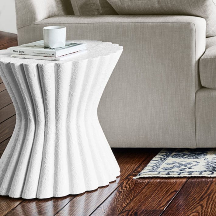 Hourglass Scalloped Edge Side Table